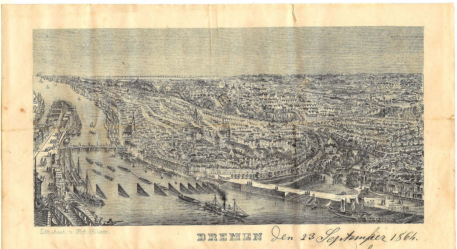 mid-19th century bird's-eye view of Bremen