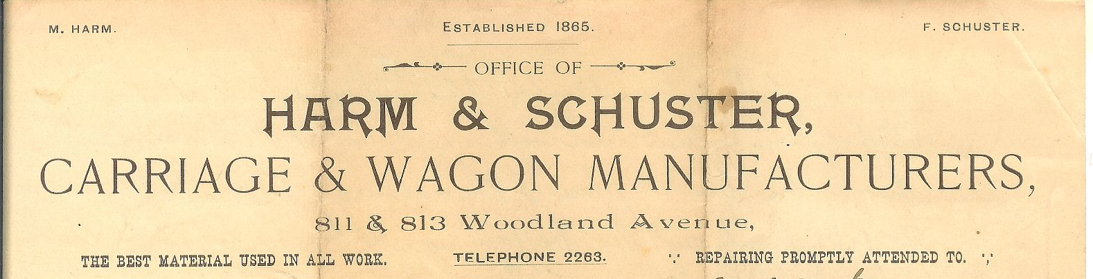 Harm & Schuster business letterhead