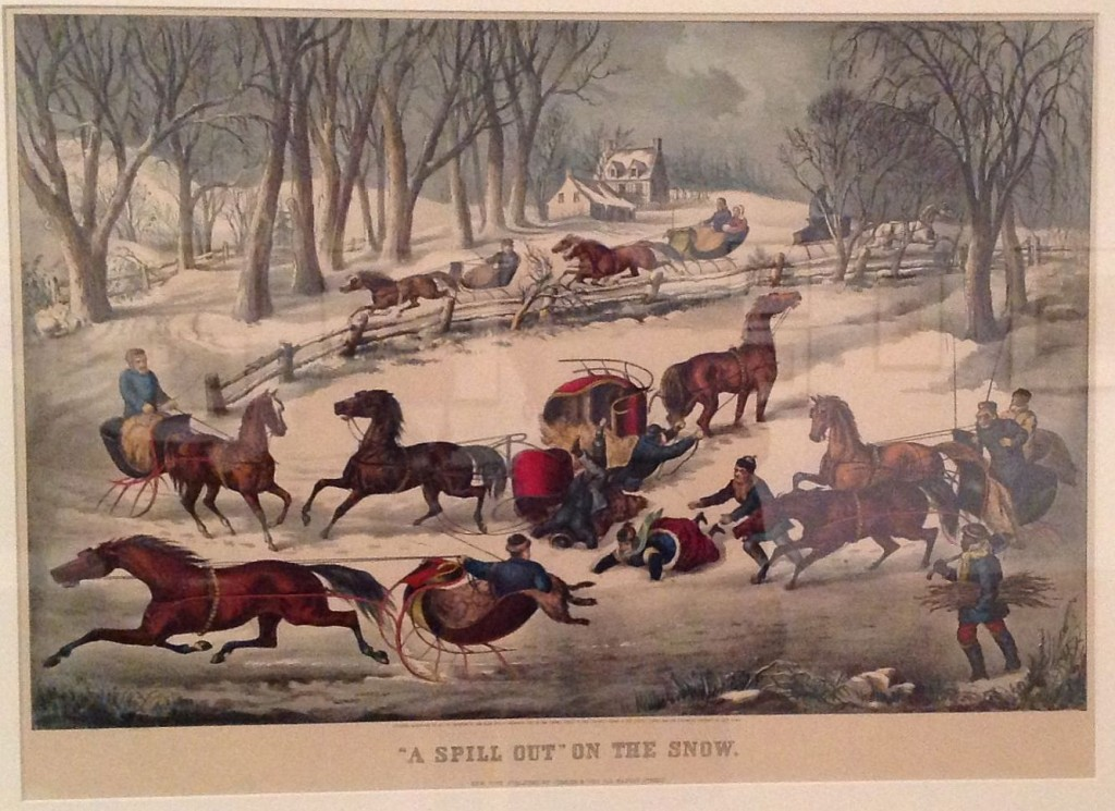 "Currier & Ives ""A Spill Out on the Snow"" 1876"