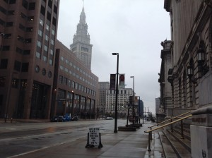 Terminal Tower from steps of Cleveland Public Library