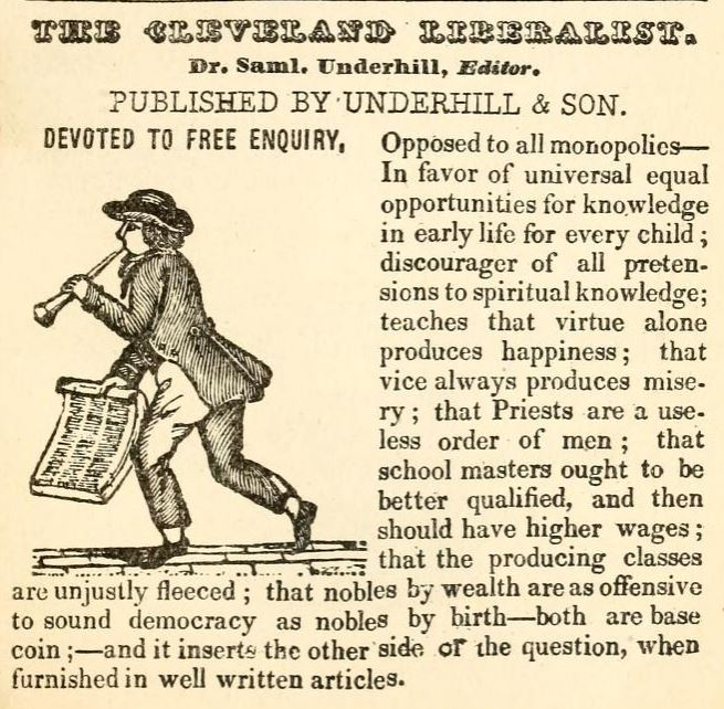 Cleveland Liberalist advertisement in 1837-1838 city directory