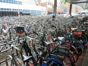 bicycles at the central train station in Amsterdam