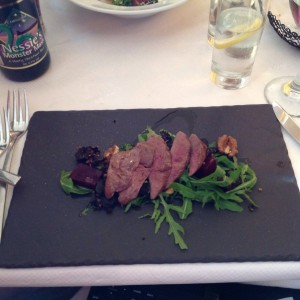 Wood pigeon with black pudding
