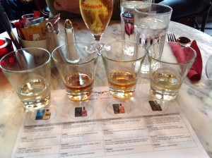 whiskey flight at Whiski in Edinburgh